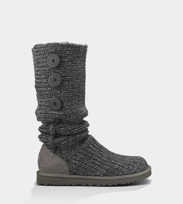 UGG WOMENS CLASSIC CARDY METALLIC CHARCOAL/SILVER FOR SALE