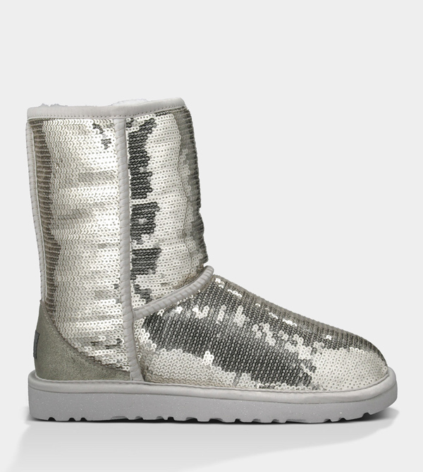 UGG WOMENS CLASSIC SHORT SPARKLES SILVER FOR SALE